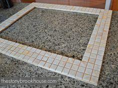 The Stonybrook House: How To Make A Custom Tiled Mirror Diy Mirror Frame Bathroom, Mirror Tiles, Diy Home Repair, Home Repairs, Coastal Decor, Bathroom Designs, Powder Room, Mosaics, Baths