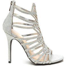 silver high heel strappy sandal rhinestone bridal prom