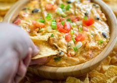 Not only does this dip taste amazing, it also comes together in a matter of (mere) minutes! Appetizer Dips, Appetizer Recipes, Snack Recipes, Snacks, Hot Cheese Dips, Cheese Dip Recipes, Velveeta, Crockpot Recipes, Chicken Recipes