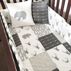 Woodland nursery bedding in gray and white with bears, arrows, and deer. Love for a boy woodland or mountain nursery. Woodland nursery bedding in gray and white with bears, arrows, and deer. Love for a boy woodland or mountain nursery. Woodland Nursery Bedding, Baby Boy Bedding, Baby Bedroom, Baby Boy Rooms, Baby Boy Nurseries, Nursery Room, Nursery Gray, Gray Crib, Animal Nursery
