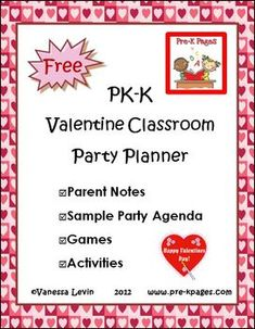 FREE Valentines Day Party Planner - cute and creative ideas for games and activities Valentine Crafts For Kids, Valentines Day Activities, Holiday Activities, Valentine Theme, Valentines Day Party, School Parties, In Kindergarten, Creative Ideas, Games