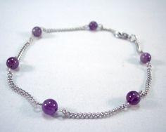 Amethyst Anklet Purple Ankle Bracelet Minimalist by theicepalace #anklet #purple #amethyst #ankle #bracelet #silver #handmade #jewelry #birthstone #beach #Minimalist