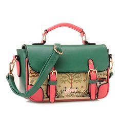 Buckles Printed Purse Handbag Satchel Messenger Shoulder Bag