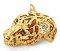 Ciner Pin/Brooch Enameled Leopard Head