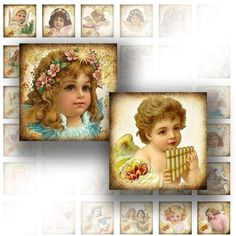 1 x 1 digital collage sheet for scrabble tile 1 inch digital art images jewelry making paper supplies Victorian angels
