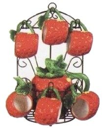 Strawberry Tea set and holder