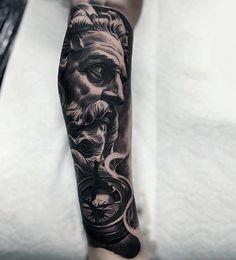Realistic Black And Grey Greek God Tattoo Mens Full Sleeves