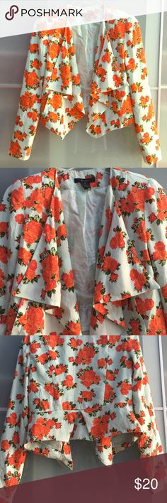 Floral print cropped blazer 🌹 Beautiful floral print roses on a mint Tiffany blue cropped blazer perfect to pair with simply plain dress or top, New, never worn BCNU Jackets & Coats Blazers