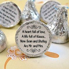 Is this too cutesy for you.  Fun idea for a table treat for your guests.  print on stick circle seals and put on the bottom of chocolate kisses.