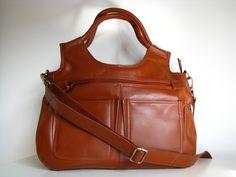 Leather Handbag Satchel - small travel Laptop Ipad Bag. $145.00, via Etsy.