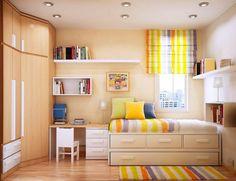teenage-bedroom-ideas-round-ceiling-lights-line-motif-curtain-wallmount-shelves-book-shelves-mini-chair-metal-night-lamp-yellow-pil