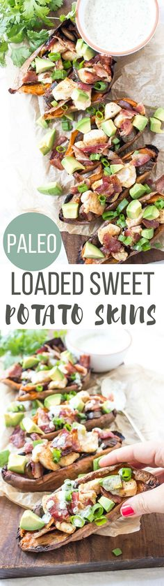 These Loaded Paleo Sweet Potato Skins have all your favorite bar food flavor without the bar food guilt.