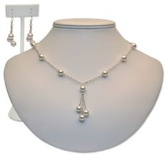 """The """"Jessica"""" set features Swarovski Pearls and a necklace with a beautiful drop. You can select the color of the Swarovski Pearls to coordinate perfectly with your wedding!"""