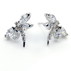 Cubic Zirconia & 925 Sterling Silver Stud Dragonfly Earrings M186 Gift