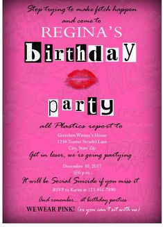Printable Mean Girls Inspired Birthday Invitation- Bachelorette Party- Bridal Shower- Burn Book Invite- Digital File Mean Girls Party, Sleepover Birthday Parties, Birthday Party For Teens, Birthday Ideas, Bachelorette Parties, Birthday Name, 18th Birthday Party, Mean Girls Burn Book, Fun Party Games