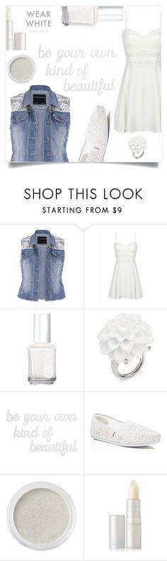 """""""Wear White"""" by im-karla-with-a-k ❤ liked on Polyvore featuring maurices, Essie, Kenneth Jay Lane, PBteen, TOMS, Bare Escentuals and Lipstick Queen"""
