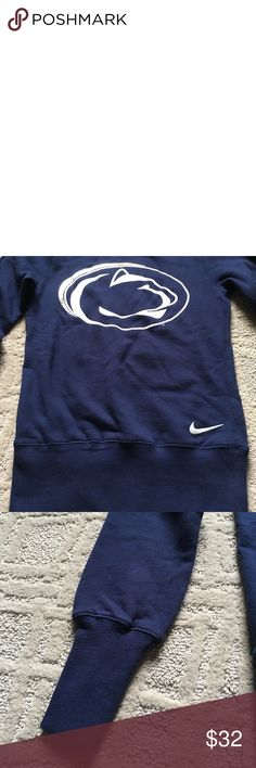 "Penn state Nike crew neck sweatshirt Warm and comfy. Never worn. New without tags. Excellent condition. Just a bit too small for me. 16.5"" across chest, fitted, more like a long sleeve shirt. Stretchy at end of sleeves and bottom of the body. 80% cotton and 20% polyester. Nike Tops Sweatshirts & Hoodies"