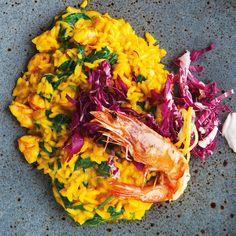 This gorgeous prawn risotto recipe comes from Riccardo Grande of La Cucina on Dublin's South William Street. Saffron Threads, Cauliflower Risotto, Risotto Recipes, Baby Spinach, Prawn, Wine Recipes, Lemon, Meals, Dinner