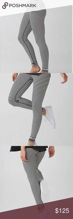 🦄 Lululemon Wunder Under Pant Stripe Angel Wing Lululemon Wunder Under Pant Narrow Bold Stripe Black Angel Wing / Grapefruit. Parallel quiet black & white stripes stripes. Good condition! Hemmed at Lululemon for 5' 4'' height! Luon fabric. lululemon athletica Pants Leggings
