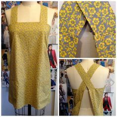 Japanese Apron Pattern Free Pattern Tutorial And Sewing Video Cross Back Apron For The Japanese Style Apron Tutorial Sewing Aprons, Sewing Clothes, Diy Clothes, Sewing Tutorials, Sewing Hacks, Sewing Projects, Clothing Patterns, Sewing Patterns, Apron Patterns