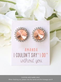 Peach Bridal Earrings, Personalized Bridesmaids Gift, Bridesmaids Gifts, Mother of the Bride