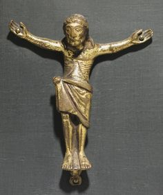 Corpus of Christ, c. 1150-1175      Mosan, Valley of the Meuse, Romanesque period, 12th century      bronze: cast, traces of gilding, Overall - h:8.80 w:7.50 cm (h:3 7/16 w:2 15/16 inches).