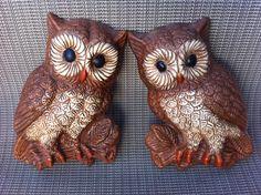 Kitschy 70's era foam owl plaques by Mad4ModMalissa on Etsy
