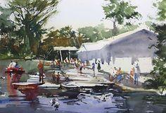 Stow Lake Boating by David Savellano Watercolor ~ 14 x 20