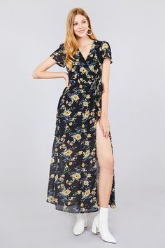 13c9818666 Short Sleeve V-neck Wrapped W/bow Tie Floral Print Maxi Dress