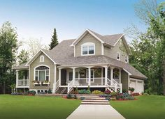 "Farmhouse House Plan # 181151- Multiple porches, stately columns, and arched multi-paned windows adorn this country home. Living Sq. Feet: 2283 Bedrooms: 3 Bathrooms: 2 1/2 Garage Bays: 2 Dimensions: 	50'0"" x 46'0"" www.ultimatehomep... #homeplan #houseplan #farmhouse"
