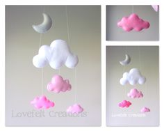 Baby mobile - Cloud mobile - Pink and Gray Mobile par LoveFeltXoXo sur Etsy https://www.etsy.com/fr/listing/195602168/baby-mobile-cloud-mobile-pink-and-gray