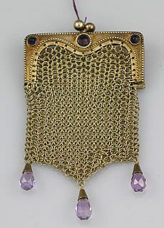 Sterling Gold Washed and Amethyst Coin Purse by the Cockshaw Brothers, American, circa 1920