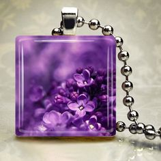 Lilac Pendant Necklace w/ Silver Chain .awwww, lilac and silver. Purple Love, All Things Purple, Purple Lilac, Fuchsia, Shades Of Purple, Deep Purple, Purple Stuff, Purple Glass, Color Violeta