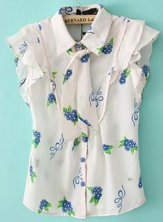 White Ruffle Sleeve Flowers Bow Front Chiffon Blouse
