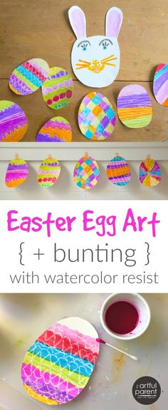 How to make Easter egg art with a simple yet lovely watercolor resist technique. Then use the colorful painted eggs to make an Easter bunting!