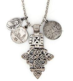 Vintage Ethiopian Coptic Cross with Vintage Religious Medals Necklace. $130.00, via Etsy.