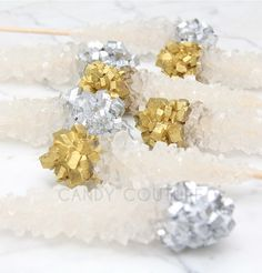 Rock candy sticks champagne white gold & silver for birthday/ Wedding/ Baby Shower/ Bridal Shower Rock Candy Sticks, Bridal Shower, Baby Shower, Champagne, White Gold, Wedding Rings, Engagement Rings, Birthday, Silver