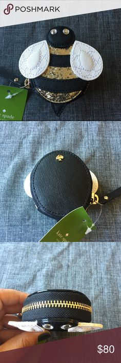 KATE SPADE Bee Coin Purse Kate Spade Bee Coin Purse. Gorgeous glitter and gemstone details on the adorable Coin Purse. Brand new with tags, excellent condition. Smoke/pet free home. Kate Spade Bags Clutches & Wristlets