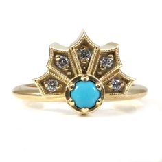 Turquoise and Diamond Modern Crown Engagement Ring - 14k Yellow Gold READY TO SHIP Size 5-7 by SwankMetalsmithing on Etsy https://www.etsy.com/listing/259471316/turquoise-and-diamond-modern-crown