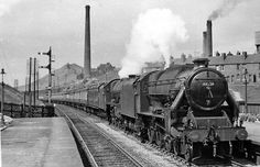 View northward, towards Normanton and Leeds etc. The Up Thames-Clyde Express (09.20 Glasgow St Enoch to London St Pancras) makes a fine sight, double-headed by Stanier Class 5 (modified with double-chimney and Caprotti valve-gear) No. 44756 piloting 'Jubilee' Class 6 4-6-0 No. 45615 'Malay States'