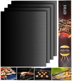 BBQ Grill Mat Set of 4 Durable Non Stick Reusable FDA Approved 15.75 x 13 Inches #BBQGrillMat