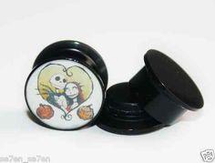 Pair of Acrylic Jack Sally Love Heart Ear Plug Gauges Tunnel Screw on Backs | eBay