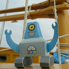 Blue Robot on the boat.
