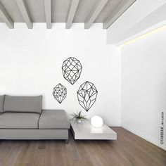 A super modern vinyl decal, contemporary art for your home or office decor. A minimal and classy vinyl wall art, Three Gems Vinyl. Geometric
