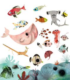 nikao - Page 31 - nikao Illustration Design Graphique, Ocean Illustration, Sea Creatures Drawing, Underwater Painting, Kids Art Class, Watercolor Animals, Animal Drawings, Character Design, Diving