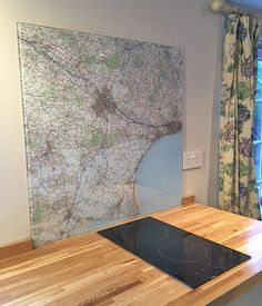 Custom made Ordnance Survey Landranger Map glass hob splashback. Made to measure and centred on any postcode in the UK. Other map styles available. Hob Splashback, Glass Splashbacks, Ordnance Survey Maps, Vintage Maps, Glass Kitchen, Design Ideas, Home Decor, Interior Design, Home Interior Design