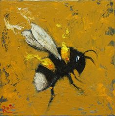 Bee painting 261 12x12 inch insect animal portrait by RozArt, $85.00