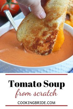 Forget tomato soup from a can. Velvety smooth, homemade tomato soup from scratch is rich, creamy, comforting and bursting with delicious flavor. Tomato Soup From Scratch, Cream Of Tomato Soup, Canned Tomato Soup, Tomato Basil Soup, Meal Recipes, Quick Recipes, Chef Boyardee, Sweet Wine, Quick Easy Dinner