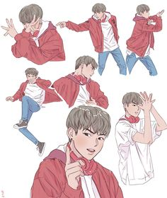 Woojin Korean Art, Body Poses, Dope Art, Manga Boy, Kpop Fanart, Black Wallpaper, Art Studies, Zine, Kawaii Anime