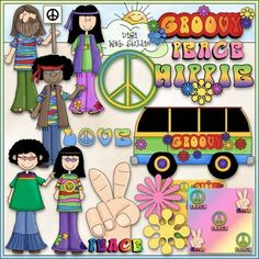 Groovy 60's Clip Art - Hippie Clip Art - Peace Sign - CU C